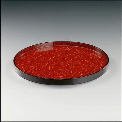 Tablett, rund, Rot mit Muster