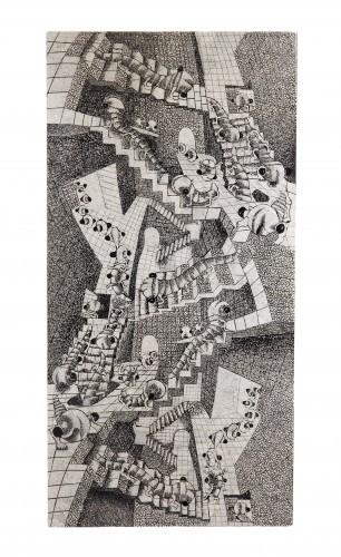 LAQ Design - House of Stairs - Bild aus Eierschalenintarsien 50 x 100 cm - Ungaubliche Haptik! Holz 2 cm -  Dicke