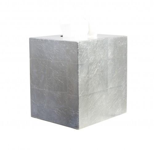 Kosmetiktücher Box, Tuchspender, Holz, quadratisch, Echtes Blattsilber