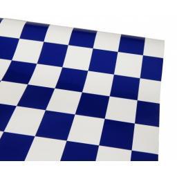 Bügelfolie blau-weiß kariert - 1 Meter