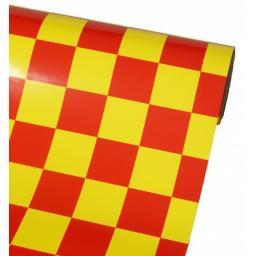 Bügelfolie rot-gelb kariert - 1 Meter