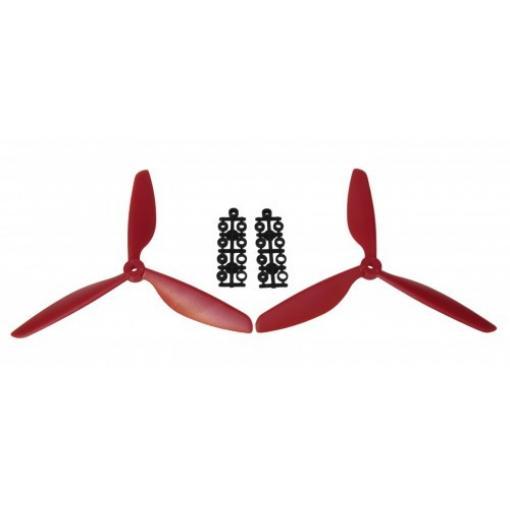 1 Paar 9 x 4,5 Dreiblatt Propeller (1x CW, 1x CCW) Rot
