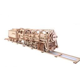 Holzlokomotive mit Tender mechanisch zum Stecken ohne Klebstoff