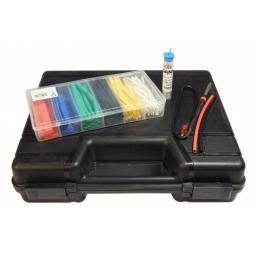 Praktisches Lötset im Koffer zur Anwendung direkt vor Ort! Mobiler Lötkolben Lötzinn Schrumpfschläuche