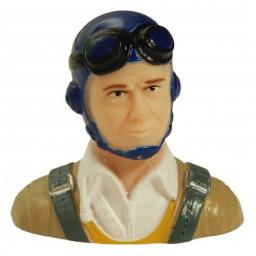Pilot KLASSISCH- hellbraunes Hemd m. Cappy blau