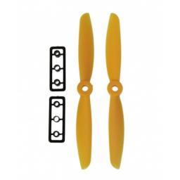 5 x 4,5 Propeller 2 Stk. 1x links- und 1x rechtsdrehend - Gelb verbesserte Version effizienter als Gemfan