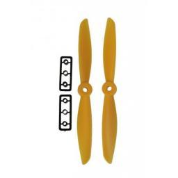 6 x 4,5 Propeller 2 Stk. 1x links- und 1x rechtsdrehend - Gelb verbesserte Version effizienter als Gemfan