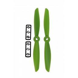 6 x 4,5 Propeller 2 Stk. 1x links- und 1x rechtsdrehend - Grün - verbesserte Version effizienter als Gemfan