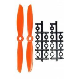 6 x 4,5 Propeller 2 Stk. 1x links- und 1x rechtsdrehend - Orange - verbesserte Version effizienter als Gemfan