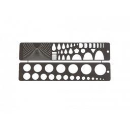 2 Schablonenlineale 100 * 20 mm Edelstahl über 100 Formen zum An- oder Nachzeichnen!