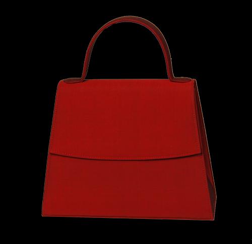 Abendhandtasche Seide Rot mit starrem Henkel