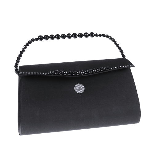 Abendhandtasche, Seide Schwarz mit Perlen