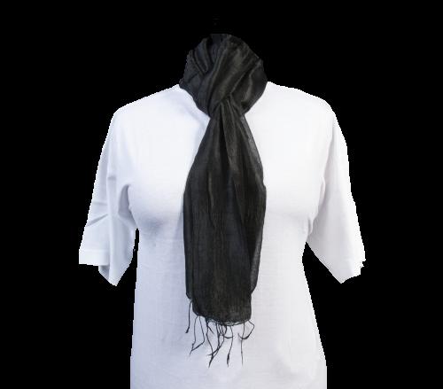 Schal aus 100% Rohseide Schwarz