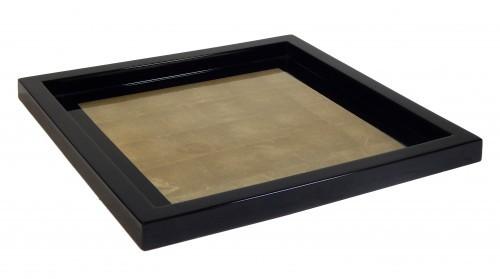 Tablett 30x30 cm Holz Pianolack ECHT Blattsilberapplikation - Gold