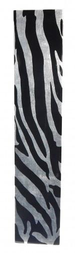 Vase 50 cm hoch - Holz - Pianolack - Blattsilber mit Zebramuster